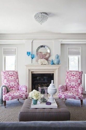 Pink Ikat chairs. Armonia Decors by Emily Ruddo. Houzz.comDecor, Colors Combos, Ideas, Living Rooms, Traditional Living Room, Fireplaces, Livingroom, Pink Chairs, House