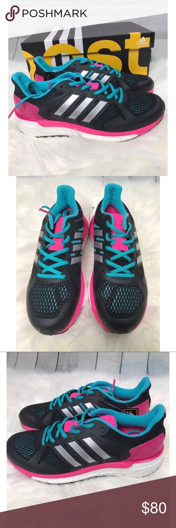 New adidas Supernova ST Running Sneaker New adidas Supernova ST Running Sneaker   Pink Black Blue   Woman's Size 7.5   Details  - Round toe with bumper   - Mesh construction  - Lace-up style  - Side stripe details  - Contrasting trim   Thanks for Looking! adidas Shoes Sneakers