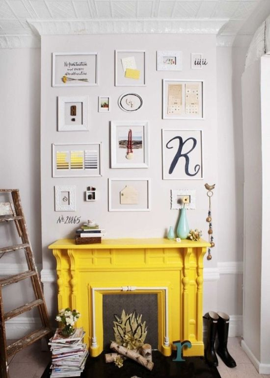 Bring an old fire place back to life, repainting it so it pops - I'm loving this bright yellow. Accent it with some of your favorite little frames. Voila! Better than new.