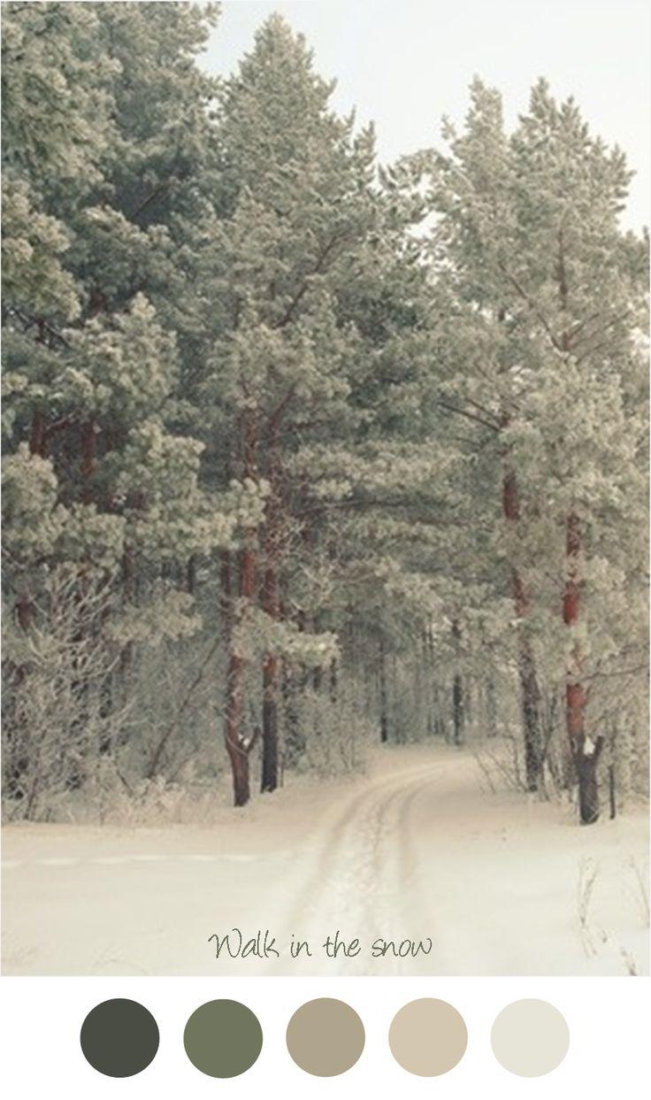 Walk in the snow - Zachte tinten grijs - groen.