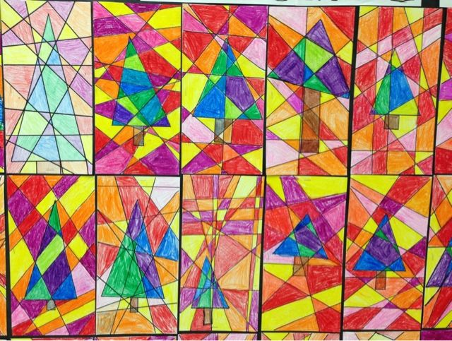 Geometric Art - Stained Glass Trees