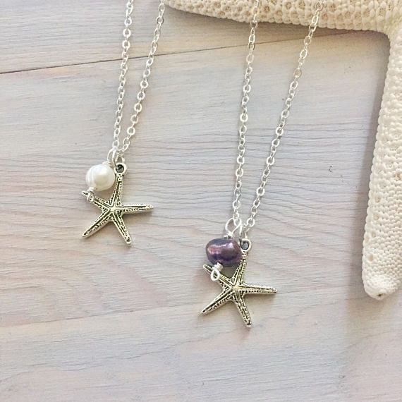 Starfish Necklace  Silver Starfish  Ocean Charm Necklace