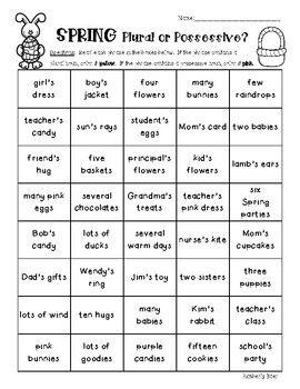 Possessive Or Plural Nouns Worksheet - Worksheet Pages