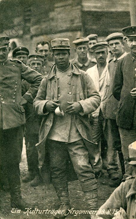 WWI, A French-African prisoner of war, 13 Aug 1915. German postcard. Credit: AKG Images/Peter Weiss