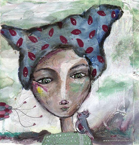 fine art print blue pattern hair lady and bird by SiobhanJordan, €25.05