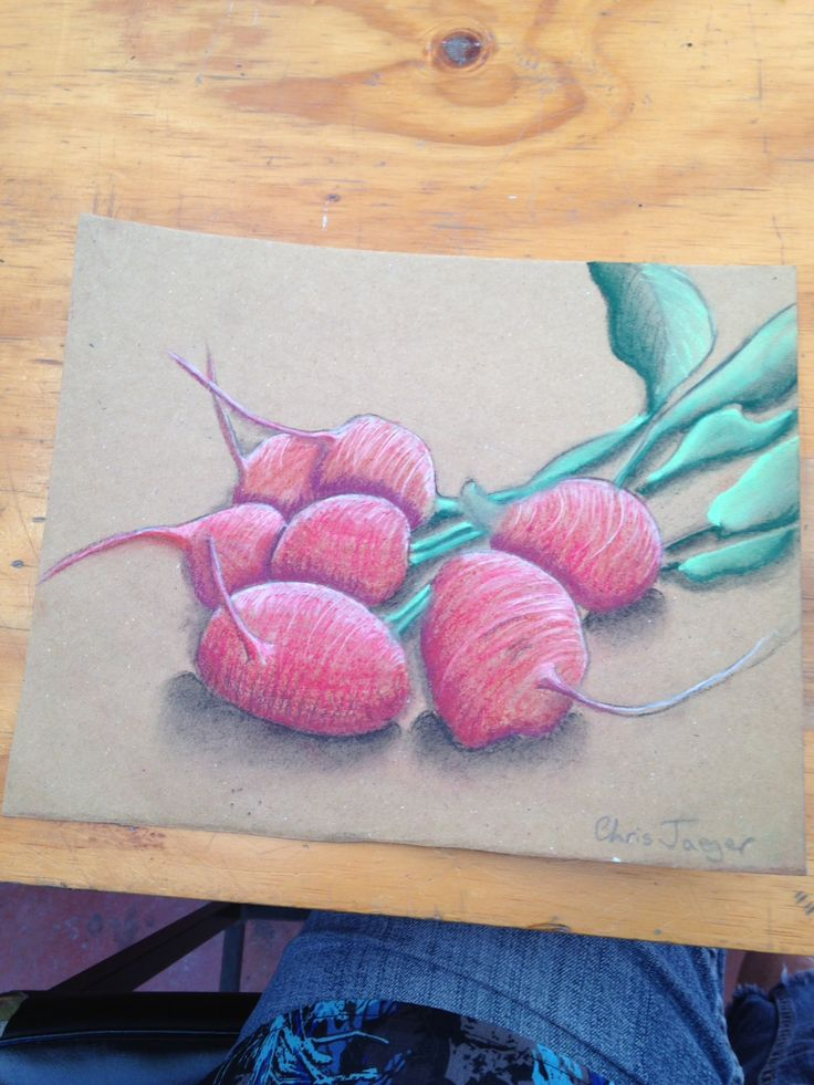 Pastels on brown paper.