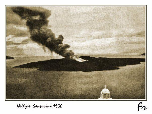 Thira (Santorini) volcano in 1930's, Photo by Nelly