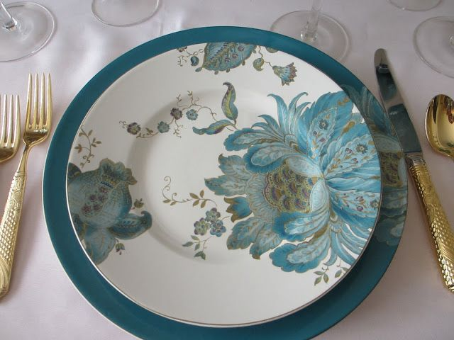 "This week's table features one of my favorite color combinations - teal and gold. Pat used 222 Fifth's beautiful ""Eliza Teal"" dinnerware, ad..."