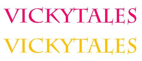 VickyTales logos, pink and yellow.