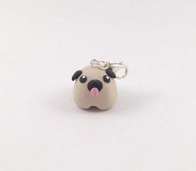 Cute pug charm polymer clay, pug, polymer clay charm, dog, mini pug