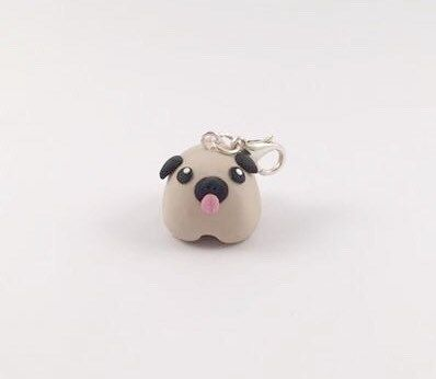 Be the embodiment of Pug Life with this beautiful clay charm! This listing is for one mini pug charm on a silver plated lobster clasp. Made from