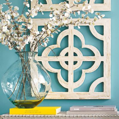 Mother of pearl quatrefoil wall decor ivory love the wall color paint paneling ivory living - Wall decoration with pearls ...