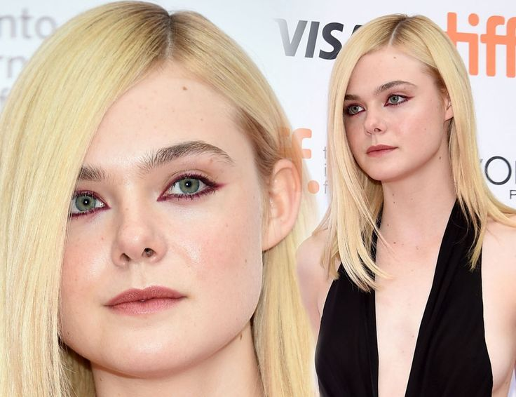 "Elle Fanning's marsala (color of the year 2015) graphic eyeliner at the premiere of ""About Ray"" during the 2015 Toronto International Film Festival."