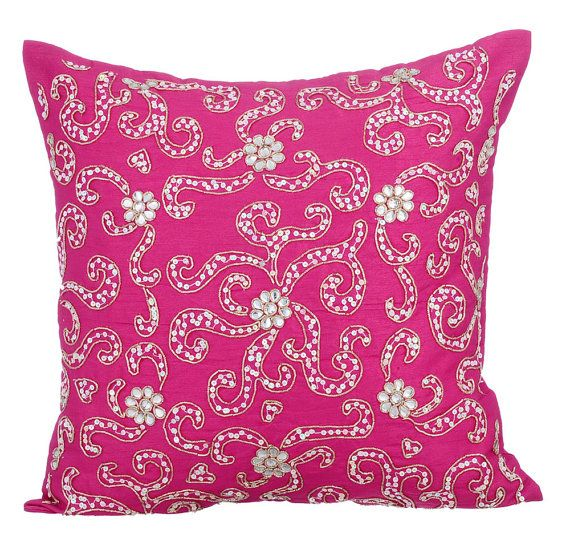 Spread The Love -16x16 Gold Zardosi & silver sequins Embroidered Pink Silk Throw Pillow.