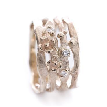 Gouden ring bloem diamanten   Wim Meeussen Goudsmid Antwerpen