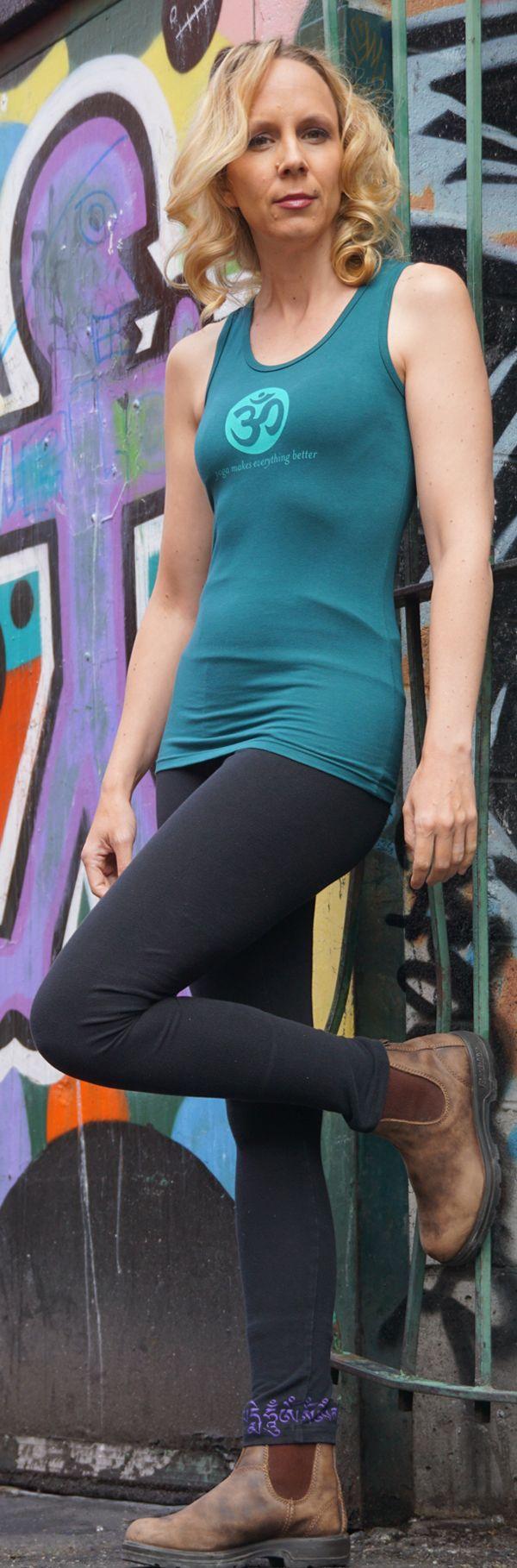 Teal Tank with OM and Yoga Makes Everything Better from Squeezed Yoga Clothing http://squeezed.ca/shop/teal-tank-with-om-and-yoga-makes-everything-better