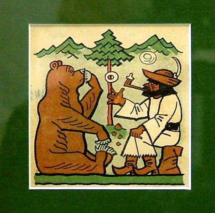 """LADA Josef (1887-1957): """"Rozhovor s medvědem"""", bar. lito. na papíře"""
