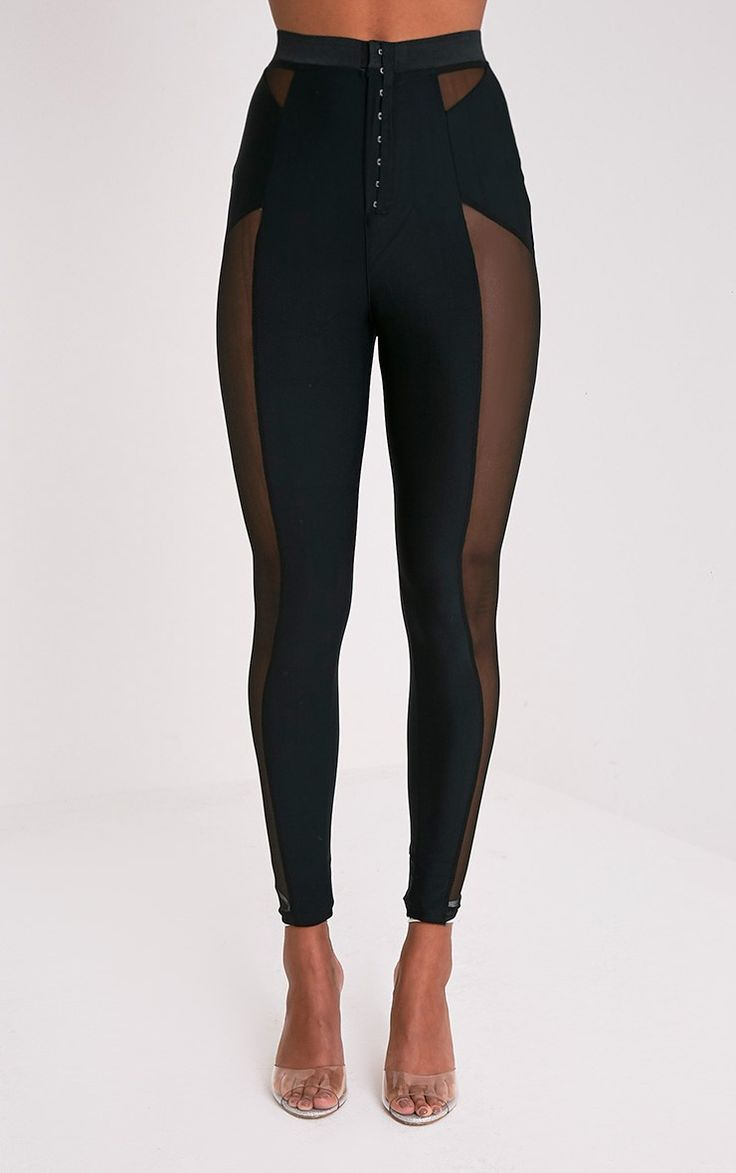 Safiya Black Hook And Eye Sheer Panelled Leggings Image 3 ...