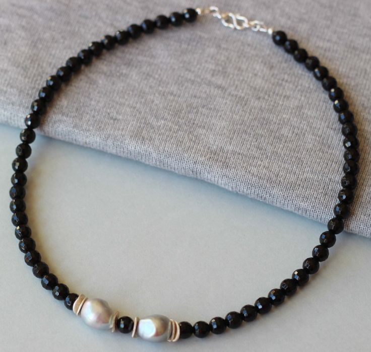Black Onyx Gemstones and Freshwater Baroque Pearls with Sterling Silver Beads Necklace by ILgemstones on Etsy
