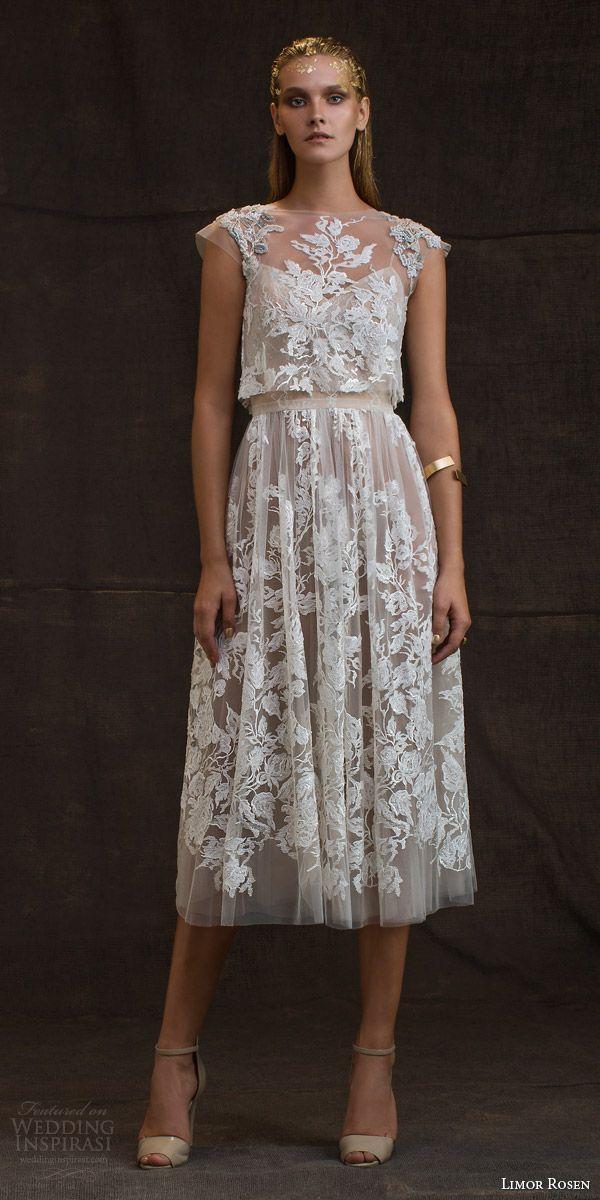 limor rosen bridal 2016 treasure grace wedding dress lace floral cap sleeve crop top blush tulle knee length skirt