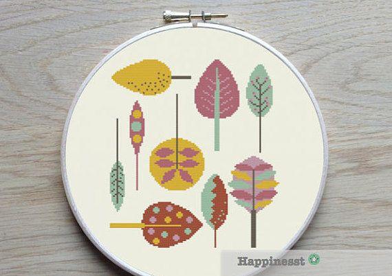 cross stitch pattern leaves retro leaves PDF pattern por Happinesst