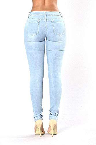 e8ee6b94ae Pantalones De Jeans para Mujer Pantalones De Lápiz Elástico Ajustados Ropa  A La Moda con Bolsillos