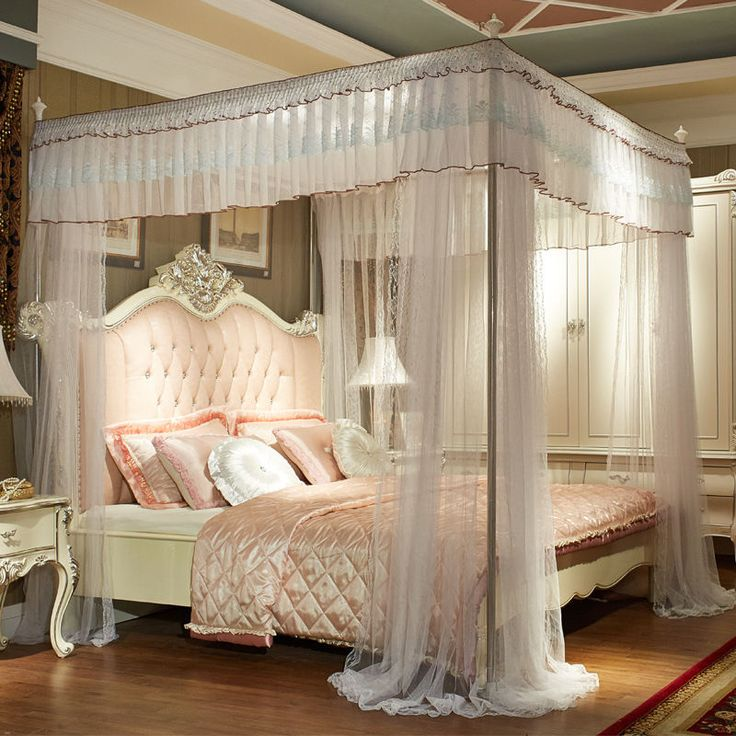 Best Details About Luxury Bed Canopy Curtain Valance Lace 640 x 480