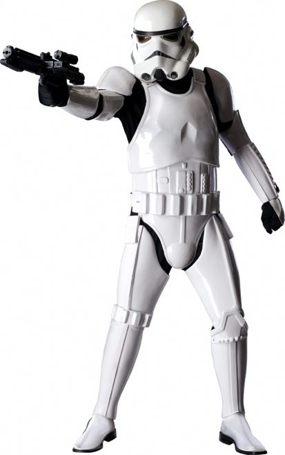Supreme Stormtrooper Star Wars Costume - TK-421, why aren't you at your post? Real Replica Stormtrooper Armor. This is it. The Supreme Edition Stormtrooper costume for adults. All of the pieces are sturdy, injection molded plastic. The chest and codpiece are attached to one another with two elastic strips, and the pieces connect to the back and bottom pieces with Velcro. #stormtrooper #starwars #mens #costume #calgary #yyc