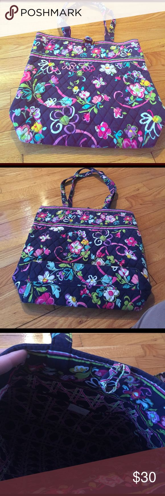 """Vera Bradley Tote in Ribbons pattern Cotton Tote in excellent condition. Ribbons was a Breast Cancer Foundation pattern.  Tortoise toggle Three interior pockets Removable baseboard Dimensions 11 ¾"""" W x 13 ½"""" H x 4"""" D - 12 ½"""" strap drop Vera Bradley Bags Totes"""