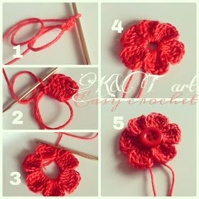 """""""The difference is in the details"""": Easy crochet: Flowers & bows  Size 1 -  2.25 mm hook Begin with a magic circle [ Chain 2, work 6 tr,  ch 3. sl st into the ring] Repeat sequence in [ ] to form 6 petals. Pull yarn tail to tighten the loop, end off. weave in ends."""