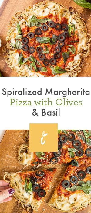 Spiralized Margherita Pizza with Olives & Basil