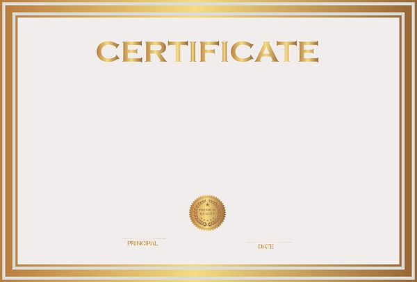 White and Gold Certificate Template PNG Image