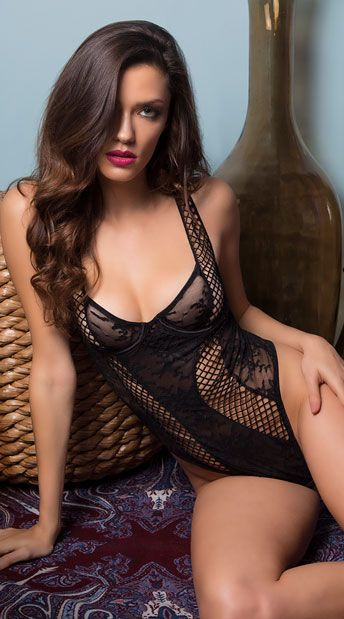 205337c409e Give your sweetie a sexy surprise in this black lace teddy featuring sheer  underwire cups