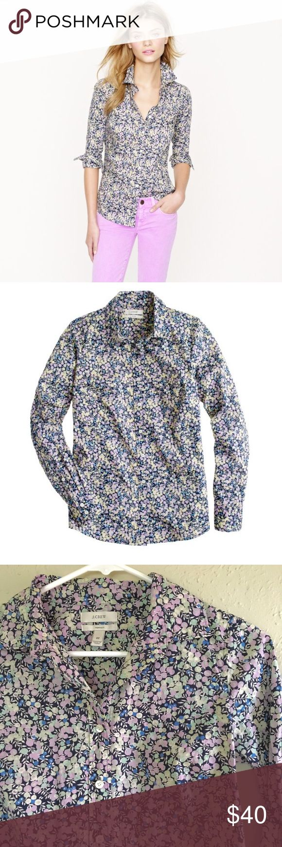 """J. Crew Liberty Perfect Shirt in Wiltshire J. Crew long sleeve Button Down in a signature floral print. This wear-anywhere blouse features impeccable tailoring with precisely placed bust darts and back princess darts for a slimming, waist-defining fit that's a bit more feminine.   Chest: approx 17.5"""" Length: approx 25"""" 100% cotton  Reasonable offers considered Bundle and save! J. Crew Tops"""