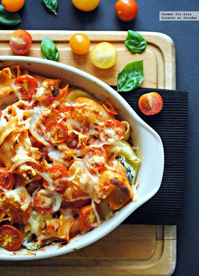 Gratinado de pasta con ricotta, espinacas, limón y tomates cherry.... | Directo Al Paladar | Bloglovin'