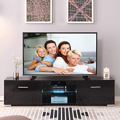 TV Stand Unit Cabinet Console with LED Light Shelves 1 Drawers for Living Room