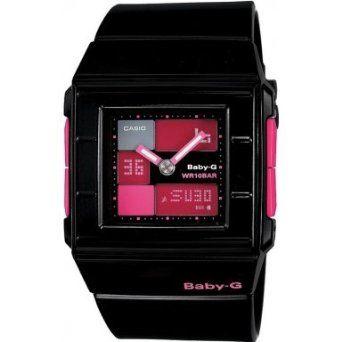 Casio Womens Baby-G BGA200-1E Black Resin Quartz Watch with Pink Dial