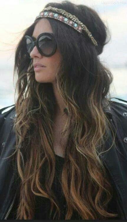 Diadema cabello largo mechas californianas: Hairstyles, Hair Styles ...