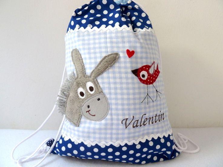 Ein wunderschöner Turnbeutel passend zu der Kindergartentasche in meinem Shop. Für den Turnbeutel habe ich festere Baumwollstoffe verwendet. De...