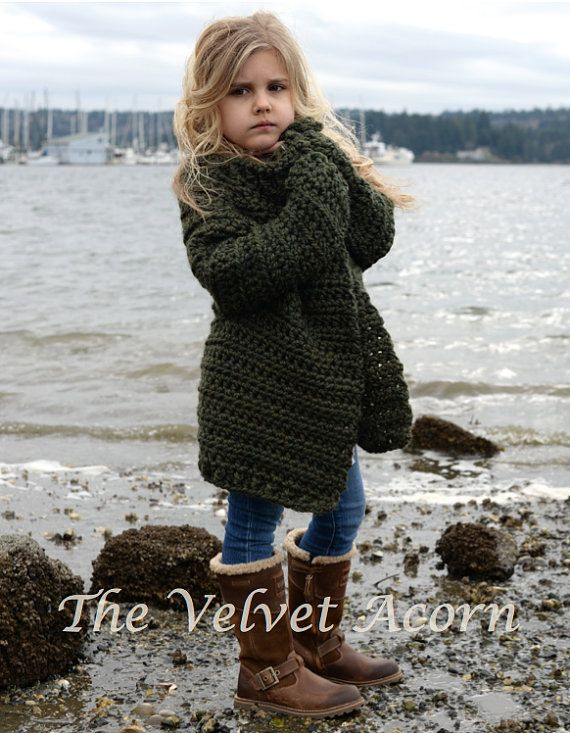 Listing for CROCHET PATTERN ONLY of The Thurston Sweater.  This sweater is handcrafted and designed with comfort and warmth in mind…Perfect accessory for all seasons.  All patterns are american english written instructions in standard US standard terms.  **Sizes included 2, 3/4, 5/7, 8/10, 11/13, 14/16, S/M, L/XL sizes. **Any super bulky weight yarn can be used.  Finished approx. measurements with sweater folded closed: 2/3 (sweater 27.25 inch chest circumference) 4/5 (sweater 28.5 inch…
