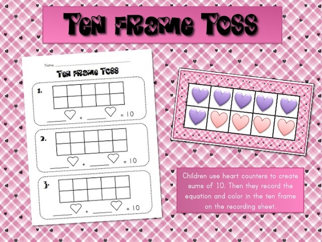 Here are two sets of Valentine's themed materials for practicing sums to 10 and writing and recording numbers to 20.