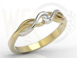 Pierścionek zaręczynowy z żółtego i białego złota z brylantem / Engagement ring made from white and yellow gold with diamond / 986 PLN / #engagementring #ring #jewellery #gold #diamond #brylant #pierscionek