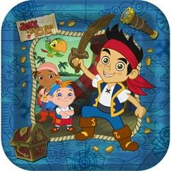 The Jake And the Neverland Pirates dinner plates feature Jake and his friends; Izzy, Cubby, and Skully: http://www.discountpartysupplies.com/boy-party-supplies/jake-and-the-neverland-pirates-party-supplies/jake-and-the-never-land-pirates-dinner-plates.html