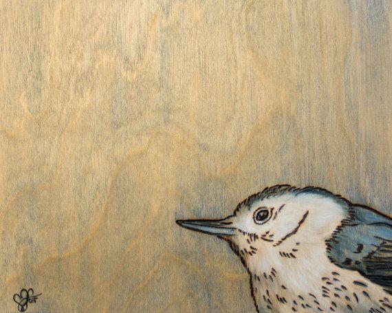 Original Bird Art 8x10 Nuthatch Woodburned Oil by Leanne Wildermuth