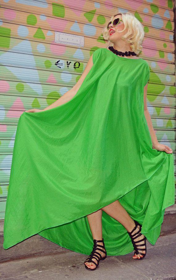 Extravagant Green Kaftan / Asymmetrical Maxi Dress / Green Loose Dress / Green Playful Dress TDK194