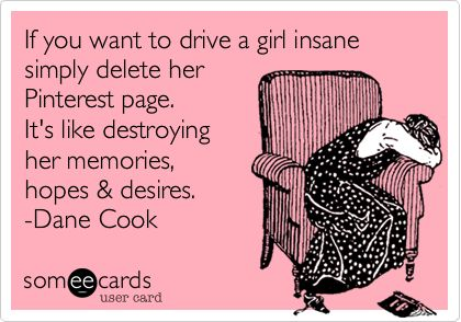 If you want to drive a girl insane simply delete her Pinterest page. It's like destroying her memories, hopes & desires. -Dane Cook.