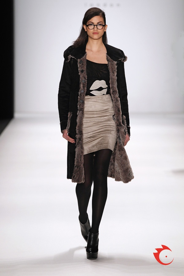 """anja gockel - fake-fur coat, cool stretch net shirt with exclusive """"lips print"""" combined with toffee colored silk skirt"""