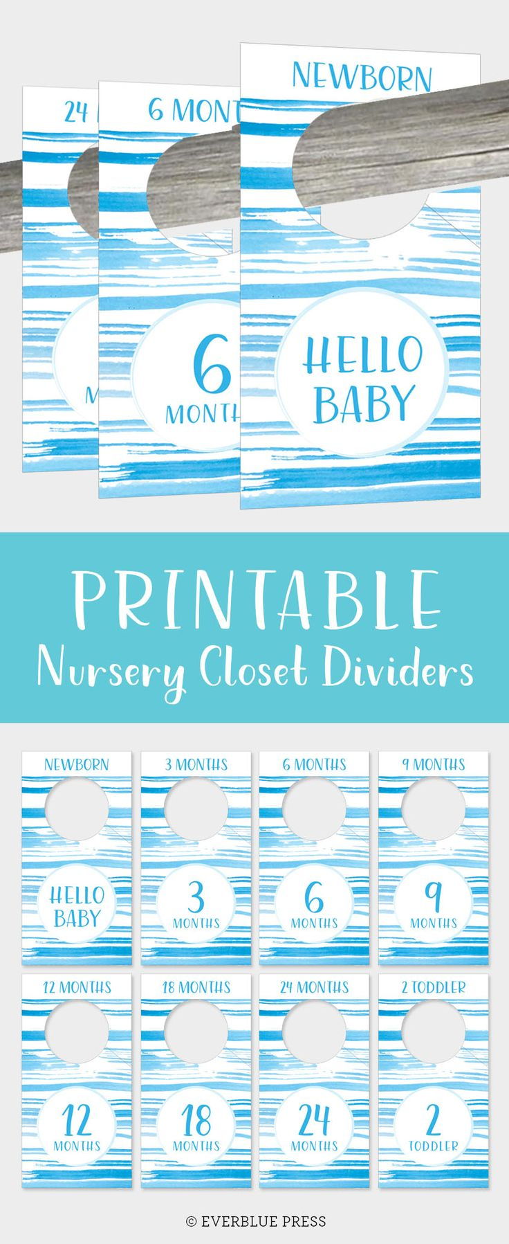 Printable Nursery Closet Dividers with pretty blue watercolor stripes would look adorable in a modern nursery! Organize your baby's clothes with these hangers! California ocean nursery decor by Everblue Press