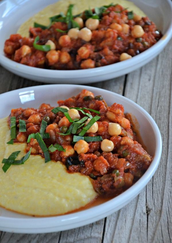 Chickpea Puttanesca over Creamy Polenta + $100 Crate and Barrel Giveaway! - Mountain Mama Cooks