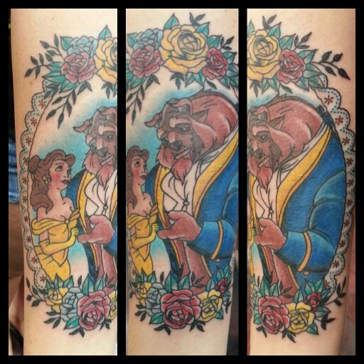Traditional Beauty and the Beast Tattoo by Steve Rieck Las Vegas